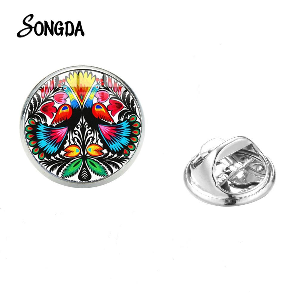 Songda Polish Folk Pattern Art Charme Broche Bohemia Estilo das flores artesanais de vidro Photo inoxidável metal pinos de aço para Mulheres Meninas
