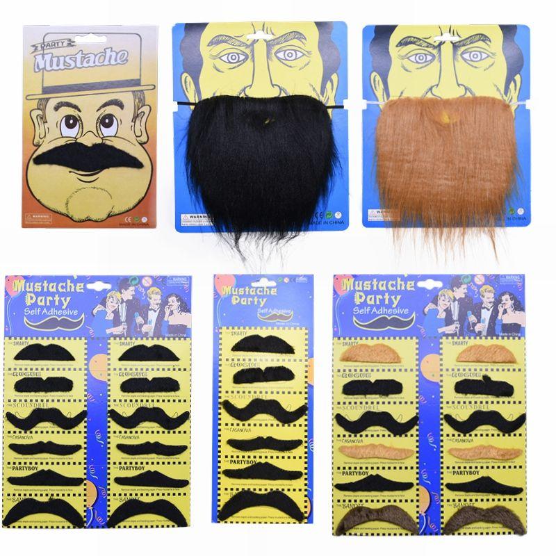 Fournitures Halloween Cosplay Faux Mustache Barbe Noir Marron Blanc Drôle Costume Party Enfants Décoration Barbe Adult Photo Props