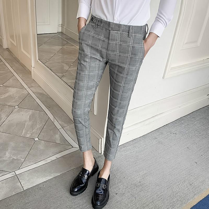 2020 Men's Plaid Dress Pants Ankle Length Pantalon Homme Casual Slim Men Suit Pant Formal Business Trousers Streetwear Clothing