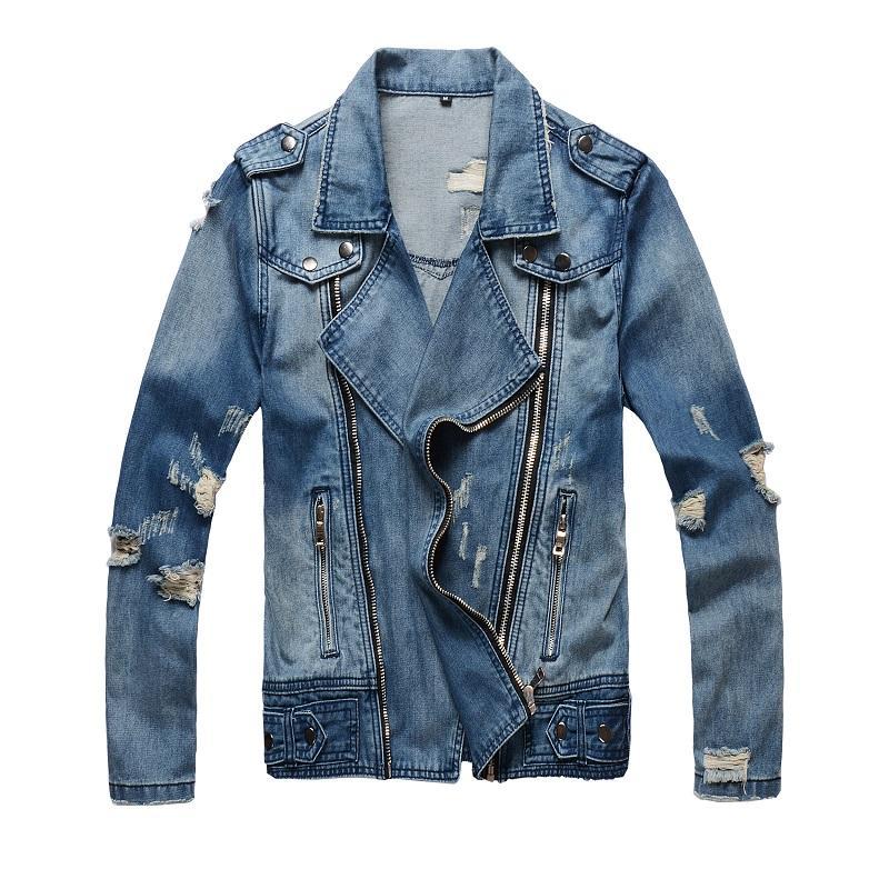 Fashion Streetwear Men Jacket Retro Blue Zipper Destroyed Ripped Denim Coats Biker Jackets Men Designer Hip Hop Jackets