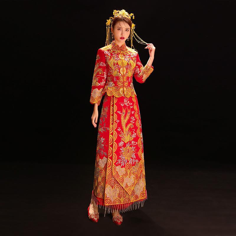 Hexiu Corte abito kimono Cheongsam orientale Vintage Hanfu qipao classico tradizionale cinese antico Royal Wedding vestito delle donne