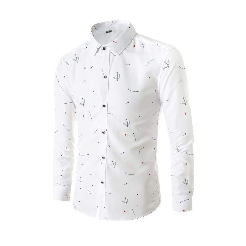 Мода Повседневная рубашка Мужчины белый с длинным рукавом Slim Fit Социальная рубашка Мужской Printed Гавайский Бизнес Формальные Цветочные Плюс Размер