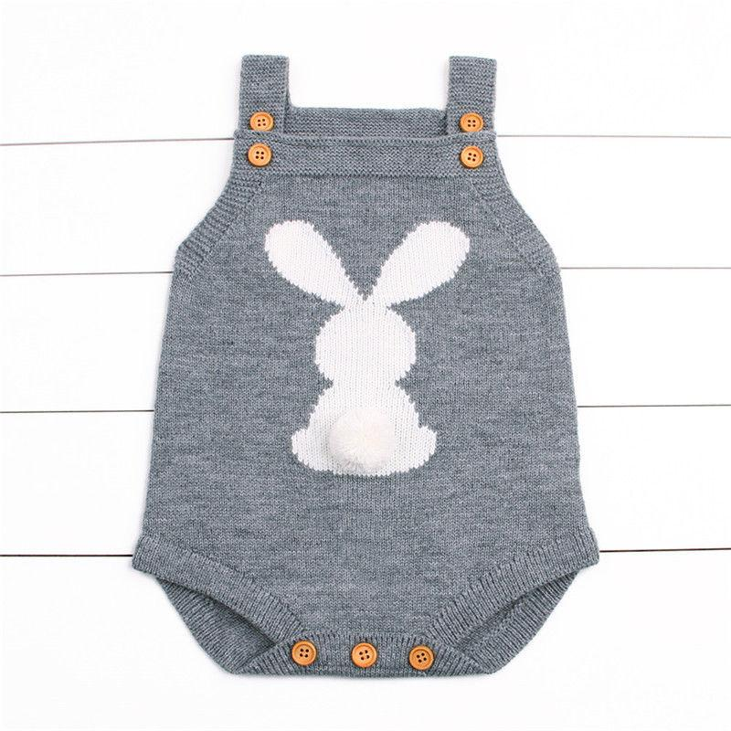 2017 Newborn Baby Boys Girls Rabbit Knitting Wool Sleeveless Bodysuit Jumpsuit Outfits Cute Sweater Anime Clothing