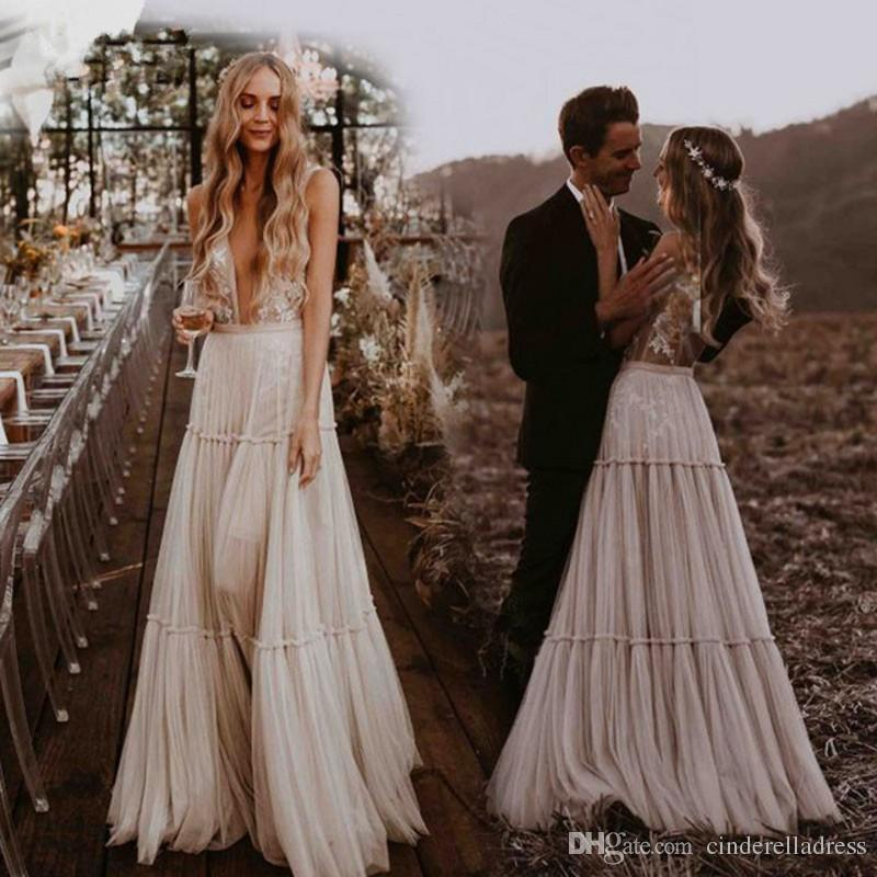 Discount Vintage Bohemian Wedding Dresses 2020 Deep V Neck Whimsical Boho Country Bridal Gowns Sexy Beach Vestido De Noiva Wedding Ball Gowns Wedding Dreses From Bestdeals 132 51 Dhgate Com