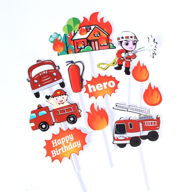 11pcs Firemen Hero Happy Birthday Cake Toppers for Cartoon Car Party Decoration Kid`s Birthday Cupcake Toppers Fire House Car Y200618