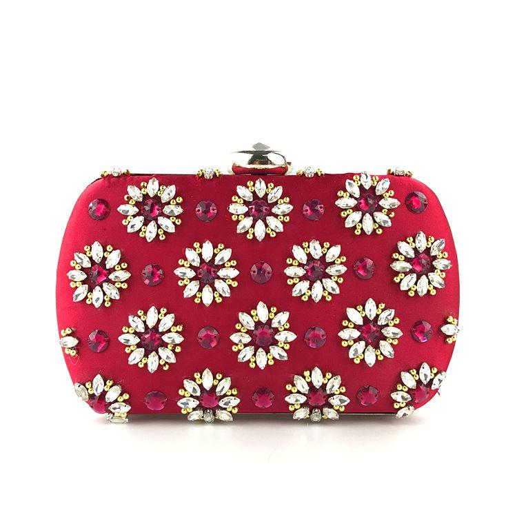 Frauen Niet Strass Abend Red Diamond Kupplungen Geldbörse Braut Hochzeit Abend Kupplungen Geschenkbox Exquisite Schminktäschchen Handtasche Party Taschen