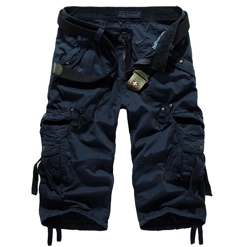 de alta qualidade homens calças cortadas Designer de Moda Multi-pocket plussize Casual Tooling Algodão Capri Pants Men geral AF5820 Y200114