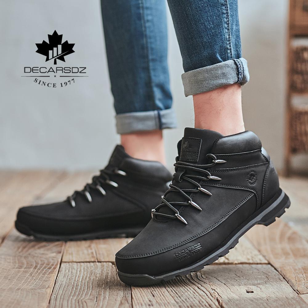 Erkekler Temel Bot ayakkabı erkekler 2020 İlkbahar Kış Moda Günlük Boots Erkek Marka Bilek Botaş Yeni deri Klasik Erkek Boots Dantel-up