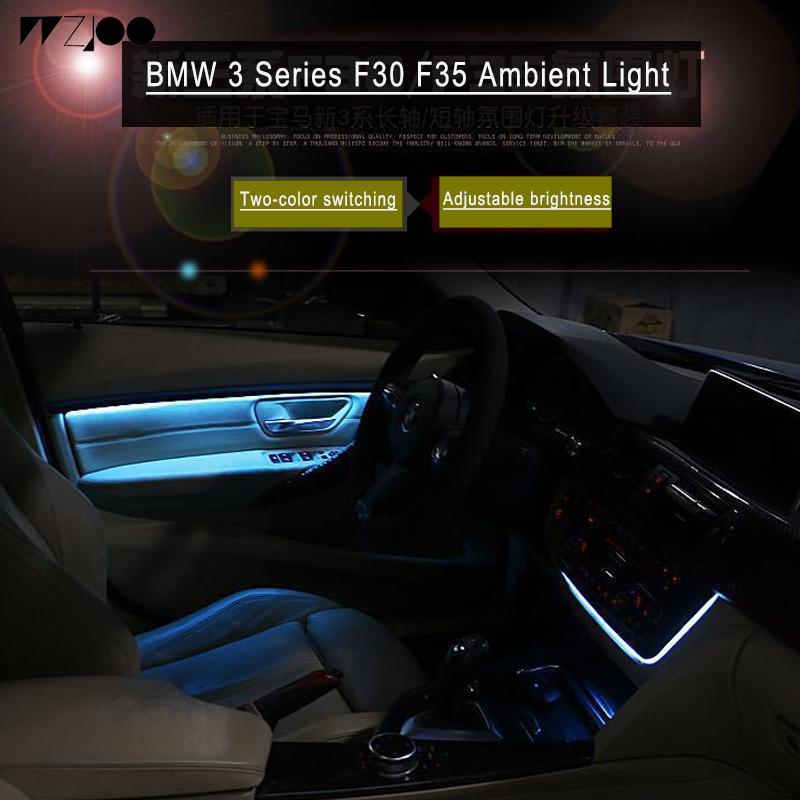 Araba Karbon Fiber Radyo Trim LED Ortam Işık İç Kapı AC Paneli Dekoratif Işık Atmosfer Işık BMW 3 Serisi için F30 F35 F11