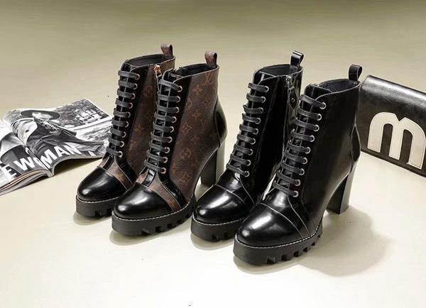Frauen arbeiten runde Zehe beiläufige dünne Ferse Schuh Stiefel Absatz-Knöchel-Aufladungen für Frauen Herbst Martin Stiefel Damen Elegante Schuhe 110605