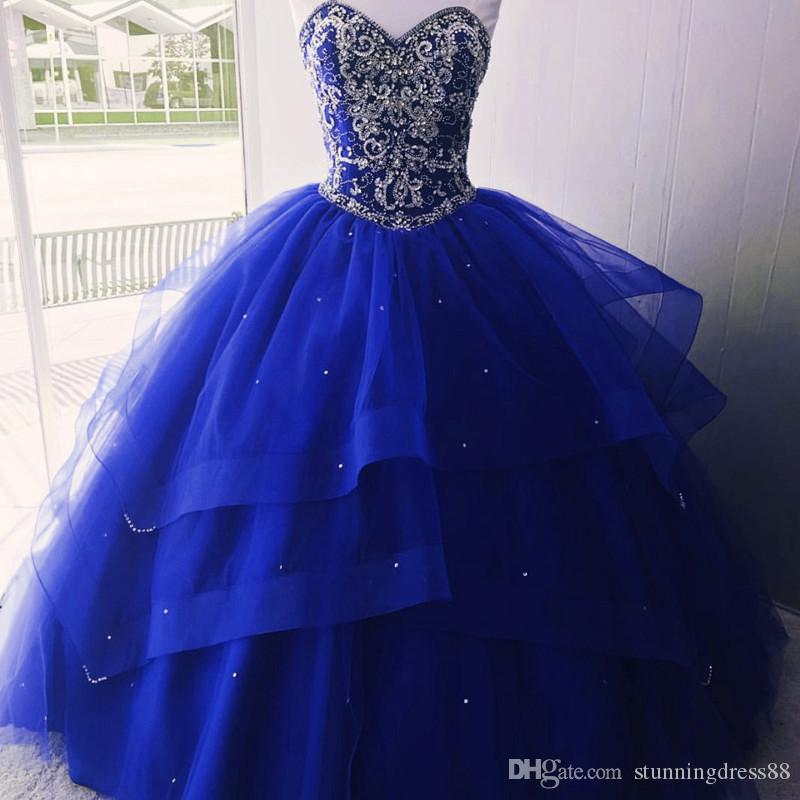 Top Sale Royal Blue Bling Crystal Quinceanera Prom Dresses Ball Gown Sweetheart Layers Tulle Rhinestones Corset Sweet 16 Party Dress Long