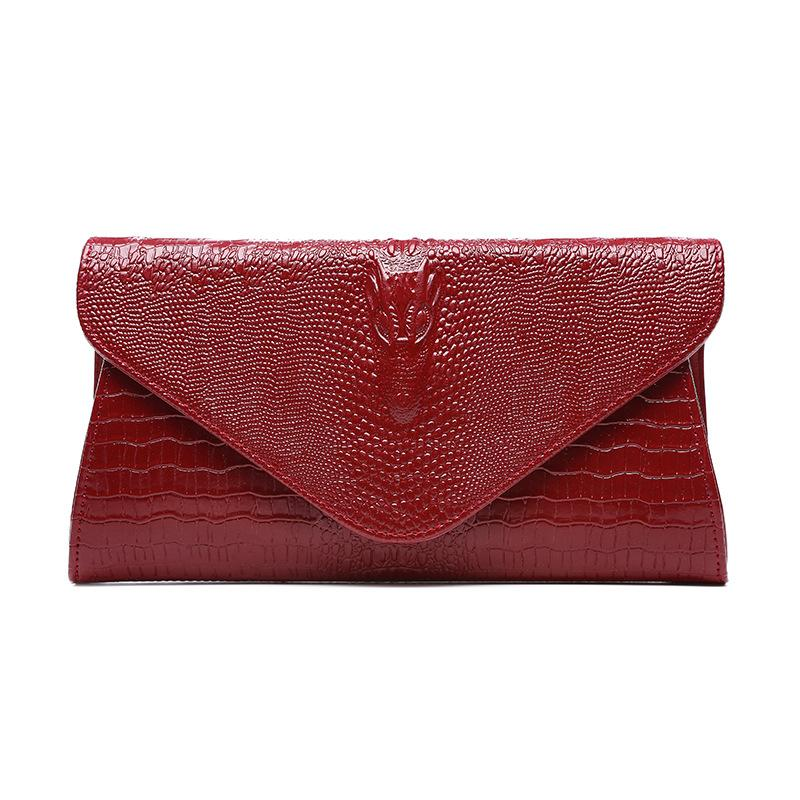 2019 fashionable leather women's bag crocodile hand bag new high-grade cattle leather bag in Europe, America, autumn and winter
