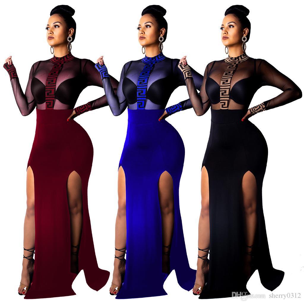 Nouvelle arrivée 2019 été sexy bodycon longue robe casual club dentelle pure dentelle robes manches longues robe imprimée befree élégante partie robes