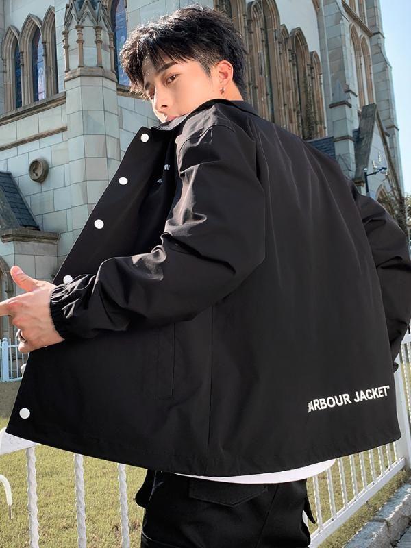 Современное пальто Мужская весна и осень Черный Одежда Осень Повседневная работа Куртки Студенты Hip Hop Стильный Открытый GG50jk