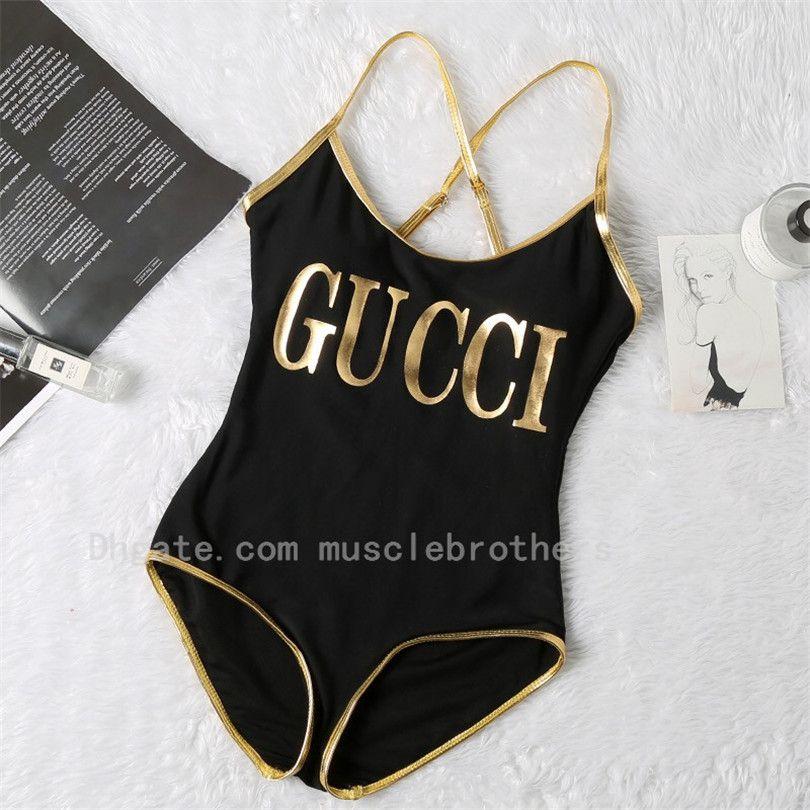 2020 Новый роскошный Золотой G печати Cross купальный костюм Цельный купальник женщин Мода купальник женщин Sexy Beach Бикини Открытый Swim Wear