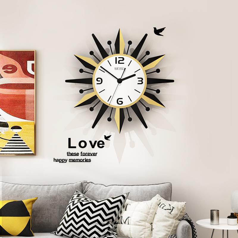 MEISD Horloge murale moderne Design Sun forme ronde silencieuse Horloges Hanging Salon acrylique 3D numérique