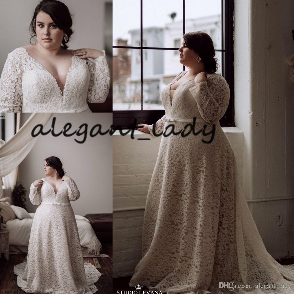Плюс размер крючком кружева свадебные платья с длинным рукавом 2019 Sexy V-образным вырезом развертки поезд открытый Загородный сад свадебный прием платье