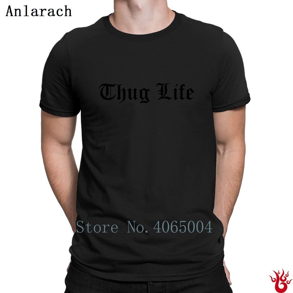Thug Life Tshirts Round Collar Crazy Family Customize Men T Shirt Spring Hip Hop Funny 100% Cotton Family