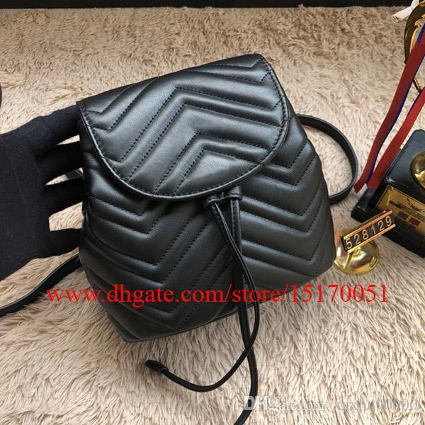 brand new genuine leather women small backpack famous designer chain knapsack 528129
