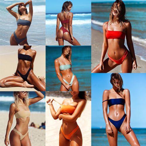 2018 Nouveau Sexy Femmes Solide Bikini Ensemble Chaude D'Été Femmes Maillots De Bain Push-Up Soutien-Gorge Rembourré Maillots De Bain Beachwear Maillots De Bain Baigneur