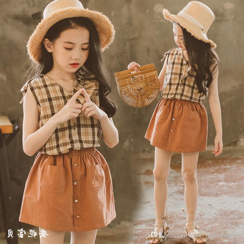 2019 Girls Sleeveless Plaid Top Skirt Set 2pcs Outfits Printed Shirts+Tutu Skirts Summer Cute Clothing Sets (3-7T)Children design Clothes