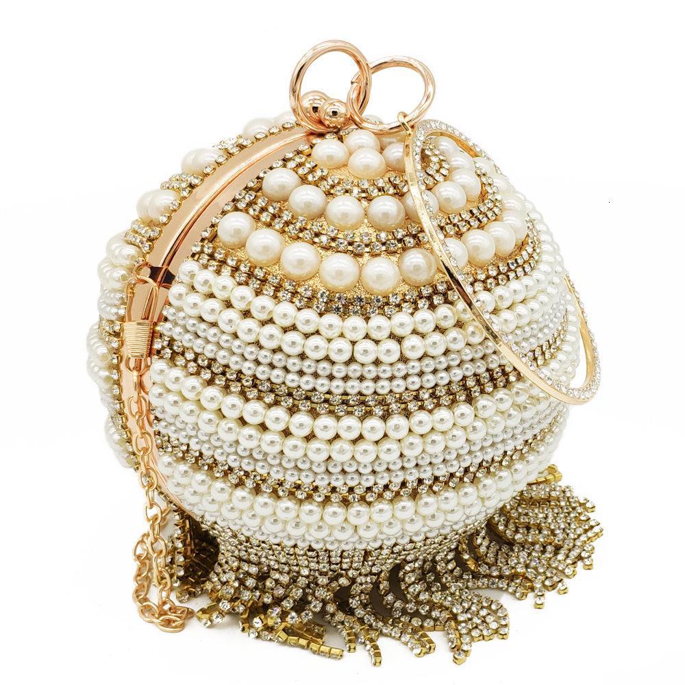 Boutique De FGG elegante Tassel Cristal Mulheres Round noite sacos dura do diamante Wristlests embreagem nupcial frisada bolsa CJ191209