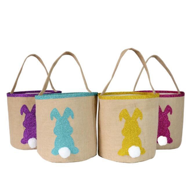 New Easter egg Orelhas de coelho cesta Algodão Linho sacolas dos desenhos animados bolsa de crianças doces do presente embalagem Bolsa de Páscoa venda quente