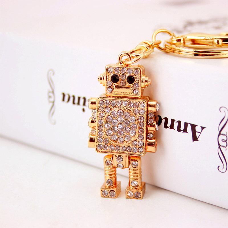 Creative mignon de diamant Robot Porte-clé Pendentif Métal Hommes Porte-clés Petit cadeau