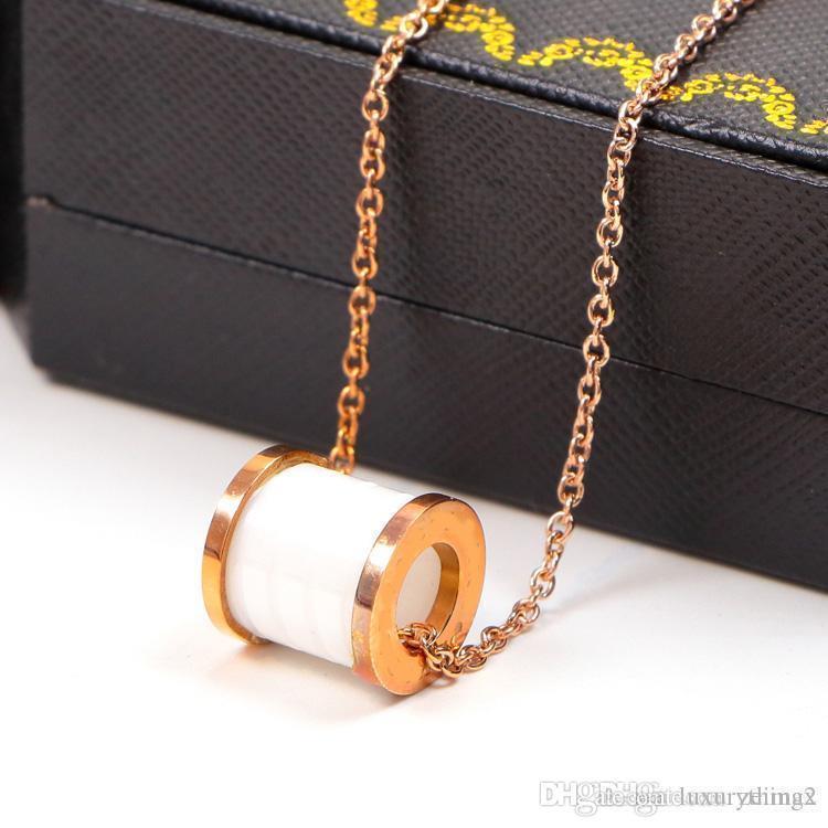 Cerchio Ceramiche collana pendente di colore della Rosa per il collare dell'annata delle donne dei monili di costume con la scatola originale SE