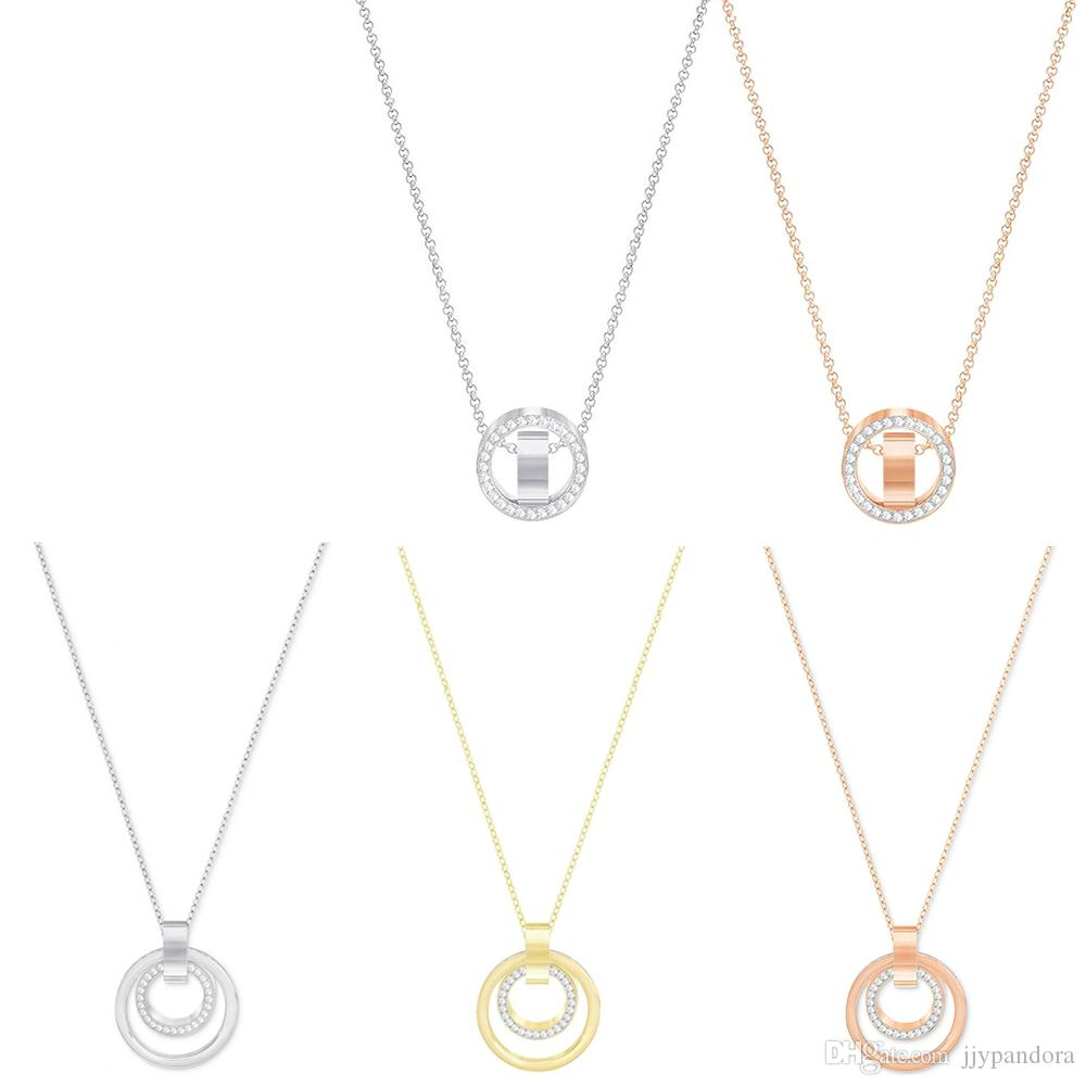 FAHMI HOLLOW Time To Run Necklace Modern Female Inlaid Zirconium Round Clavicle Chain Jewelry Easy To Create Modern Fashion Rose