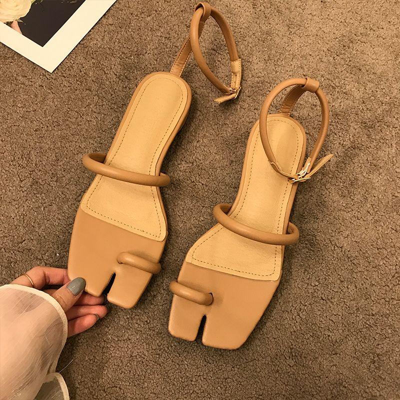 2020 новый дизайн квадратный носок сандалии на низком каблуке летние уличные туфли Женские элегантные сандалии лодыжки ремень женская обувь