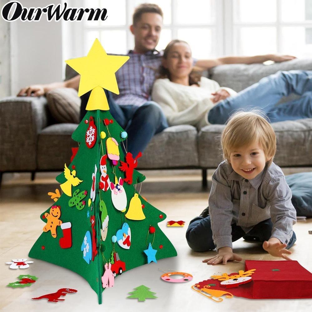 OurWarm DIY Войлок рождественской елки новогодние подарки Детские игрушки Искусственные дерево украшения Рождественские украшения для дома Xmas Войлок Дерево Y191030