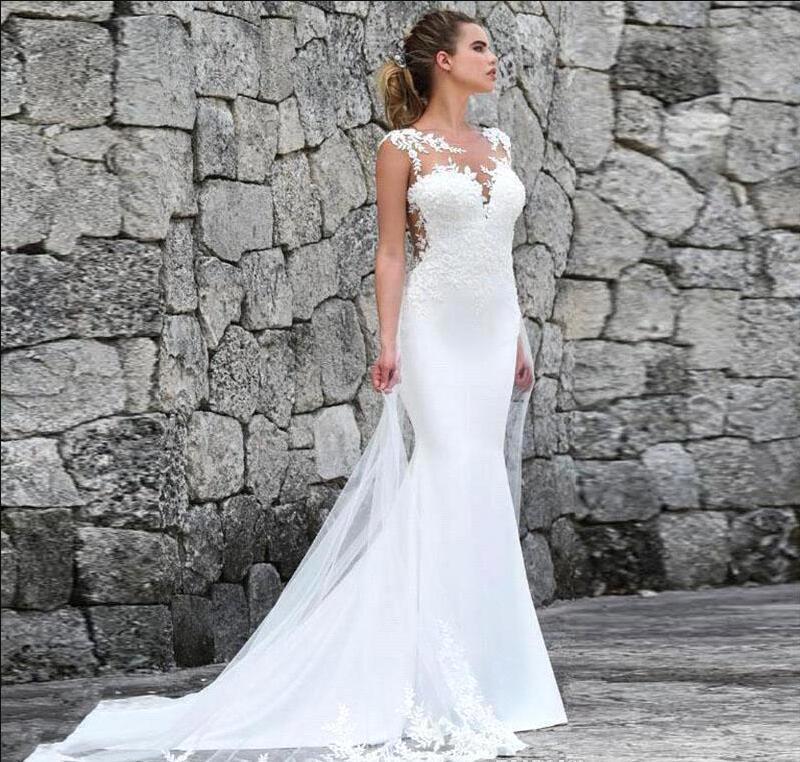 Playa del cordón de Bohemia sirena vestidos de novia de tul ilusión ver a través de mangas Backless atractivo de los vestidos de novia Vestidos de novia 2020