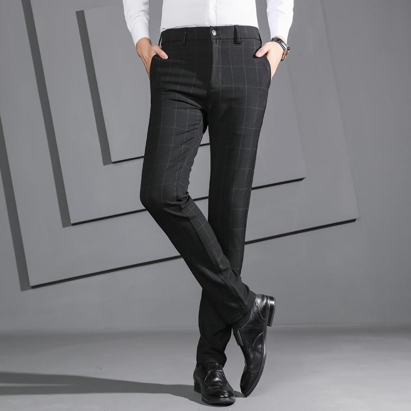 Der Herbst-Männer Hose gerade lange Street Plaid Fashion Elastic Anzüge Hosen Masculino nehmen Geschäfts-beiläufige Männlich