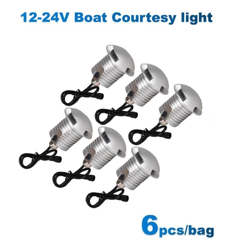 6шт / мешок 12V 24V LED лодка плафоны Водонепроницаемый Deck / лестничные лампы теплый белый Встраиваемый Наружное Освещение для яхт Морской RVs