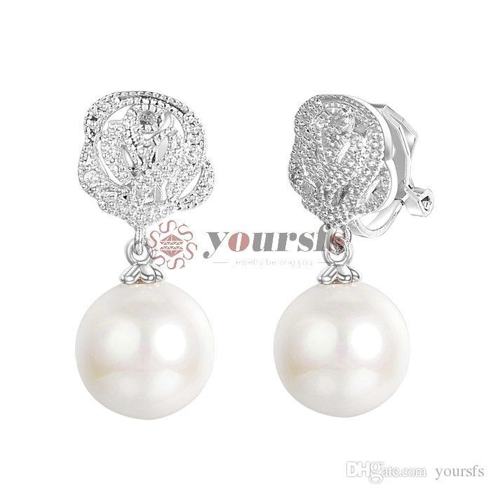 Placcato trasporto del commercio all'ingrosso fascino dell'oro bianco 18K Usa cristallo e perla della vite prigioniera Earings E217W1
