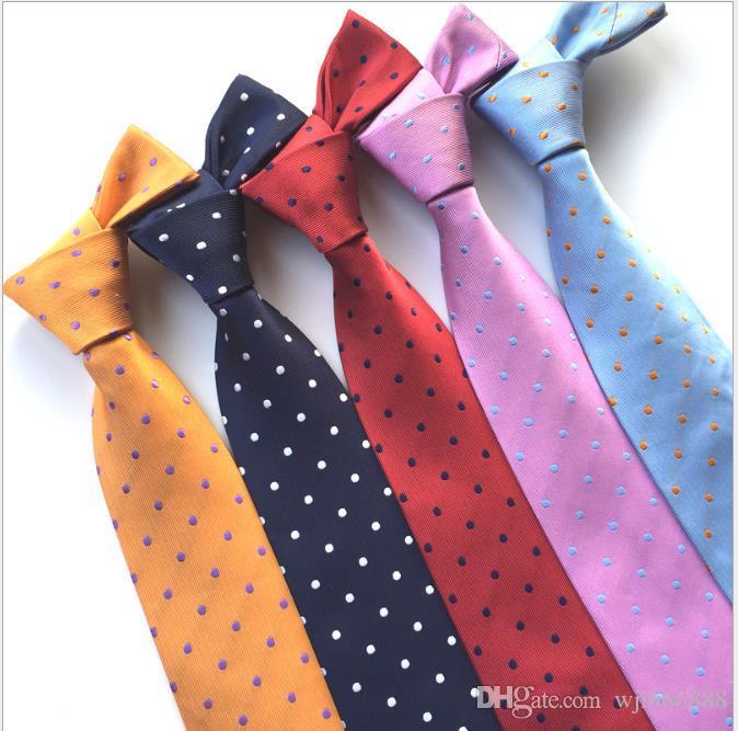 Mode Cravate Loisirs Polyester jacquard hommes Tie Point Petit point