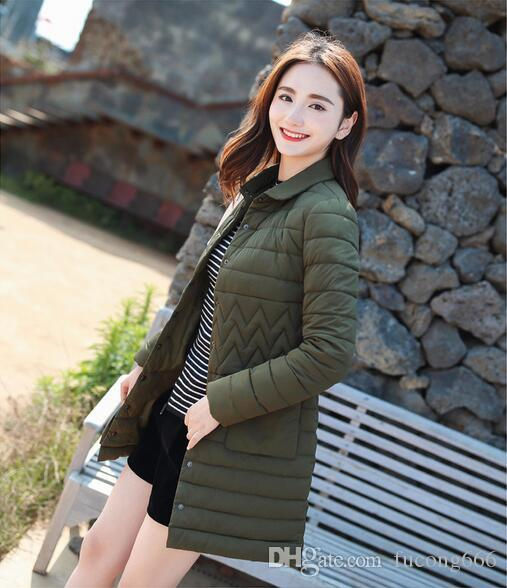 Free shipping 04 down cotton pad ladies long cotton coat thin 2018 winter new Korean women's long sleeve small lapel cotton jacket