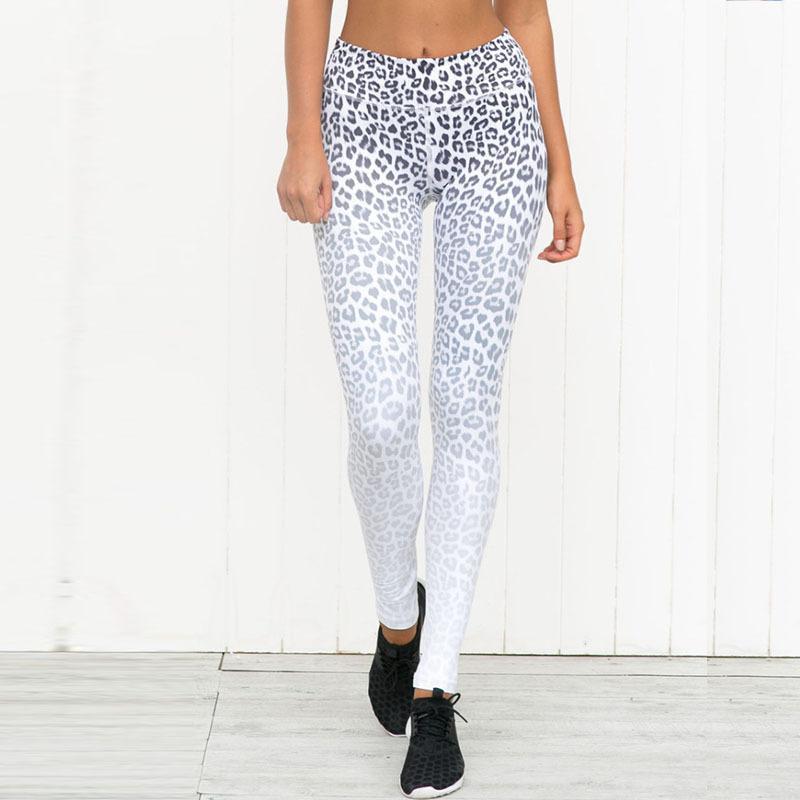 Kadınlar Sporting Tozluklar Seksi Yüksek Bel Skinny Kadınlar Tozluklar Elastik Femme Sıkıştırma Spor Pantolon yazdır leopard