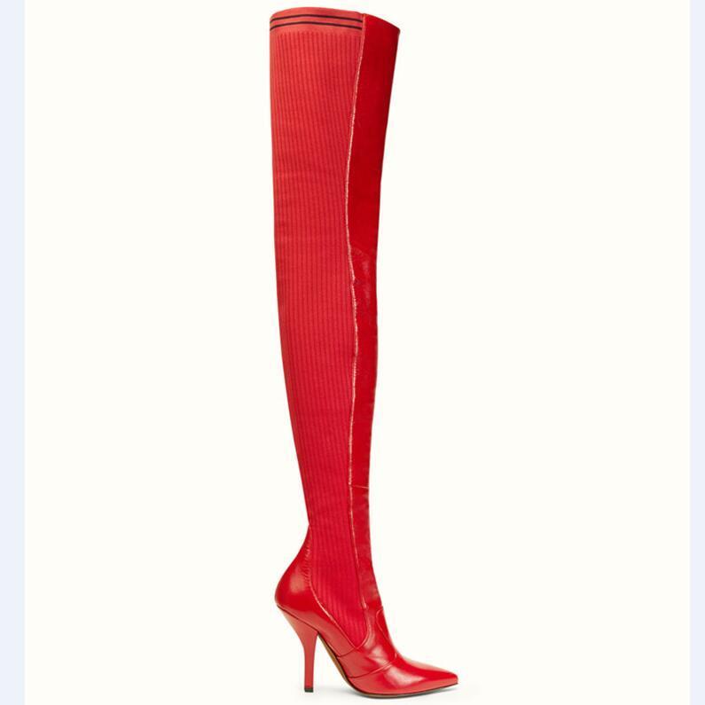 2019 Diseño botas largas de las mujeres del dedo del pie en punta roja del remiendo de punto de cuero real zapatos de tacón alto Mujer de la estrella sobre la rodilla patea