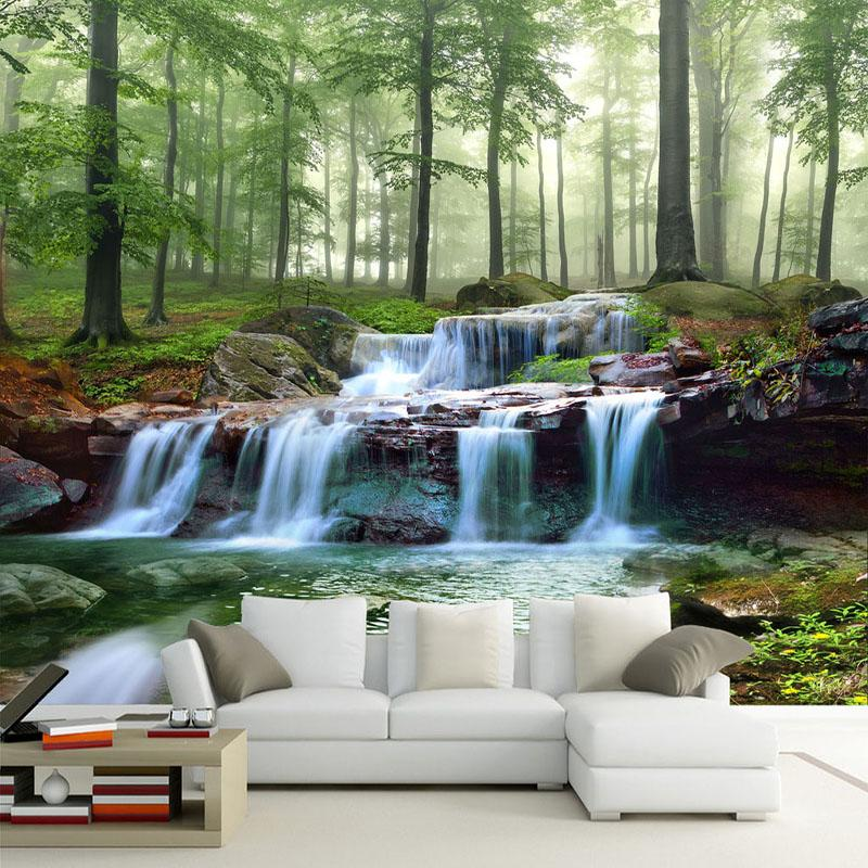 Drop Shipping Custom 3D Mural Wallpaper Modern Waterfalls Forest Scenery Wall Painting TV Sofa Background Wall Decor Papel Murals