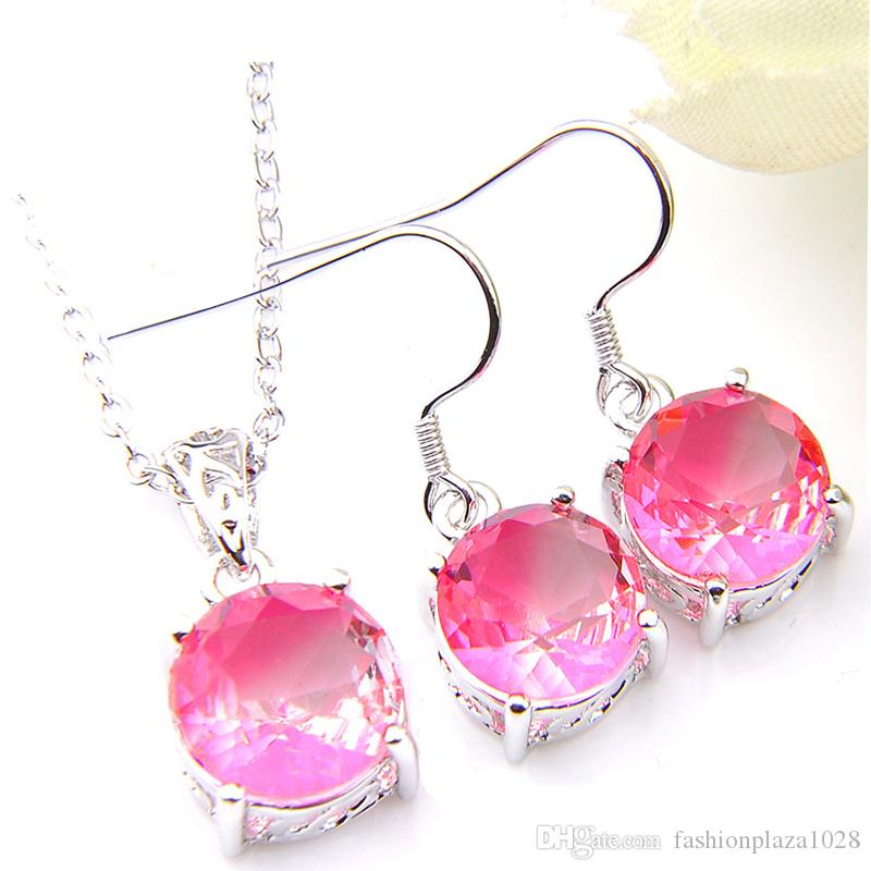 Luckyshine Women Gift Round Pink Bi Colored Tourmaline Gems 925 Sterling Silver Plated Pendants Drop Earrings Engagement Jewelry Set