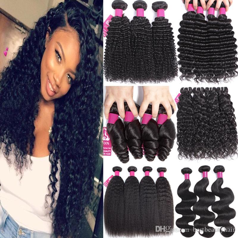 9a бразильский Виргинские волосы перуанский человеческих волос Weave ткет пучки объемная волна прямая Свободная волна кудрявый вьющиеся глубокая волна наращивание человеческих волос