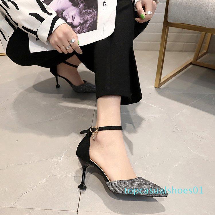 Online Celebridade Lantejoula sapatos de salto alto Mulheres 2019 Primavera New Style linha Pointed-Toe A- Strap Sandals mulheres magras Heeled Fair t01