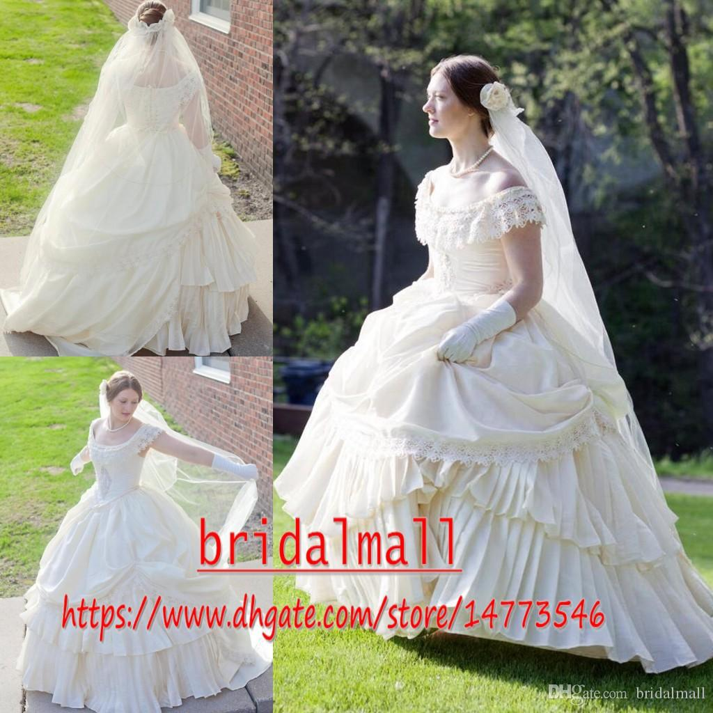 Discount Puffy Cream Taffeta Wedding Victorian Civil War Steampunk