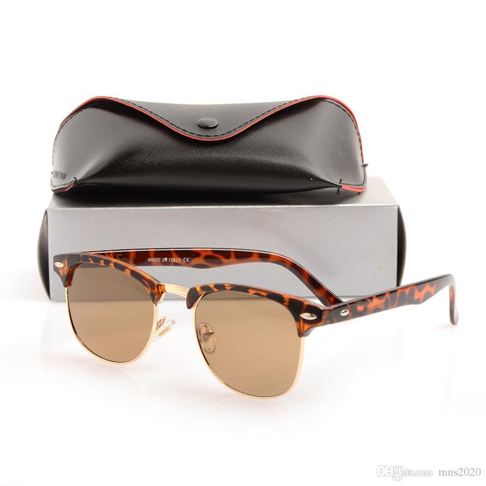 Nuevo diseñador de gafas de sol Gafas de sol de bisagra de metal de alta calidad Gafas para hombre Club Mujeres Gafas de sol Lentes UV400 Unisex con estuches y estuches