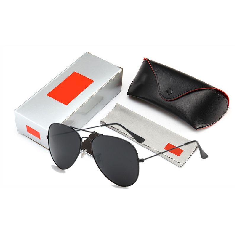 Estilo piloto de condução de moda óculos de sol das mulheres dos homens clássico do vintage de metal armação de óculos de sol oculos de sol masculino com caixa original e caixa
