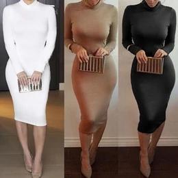 겨울 부드러운 코튼 스트레치 블랙 파티 드레스 플러스 사이즈 스키니 섹시한 클럽 착용 Warm Maxi Bandage Bodycon Dress