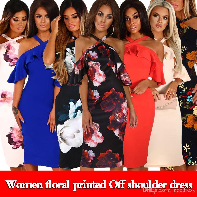 Kadınlar Çiçek Baskılı Elbiseler Yaz Seksi Çapraz Kapalı Omuz Ruffles Kısa Kollu Bohemia Parti Plaj Kalem Sundress Zarif Bayanlar giysi