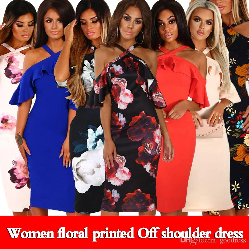 Women Floral Printed Dresses Summer Sexy Cross Off Shoulder Ruffles Short Sleeve Bohemia Party Beach Pencil Sundress Elegant Ladies clothes